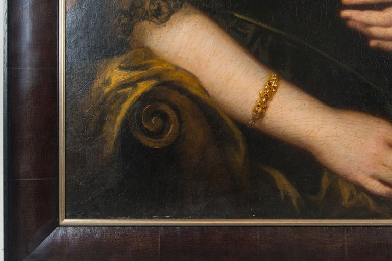 Original 19th Century Oil Portrait of Lydia Augusta Allen by George Clint In Good Condition For Sale In Westport, CT