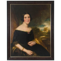 Original 19th Century Oil Portrait of Lydia Augusta Allen by George Clint