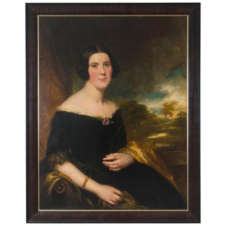 Original 19th Century Oil Portrait of Lydia Augusta Allen by George Clint For Sale