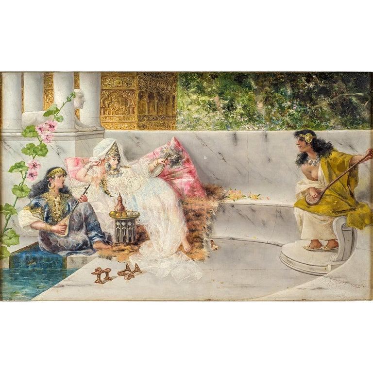 Original 19th century orientalist painting on panel by Spanish Artist Antonio Rivas depicting Odalisque with Musicians. Signed A. Rivas; Rema (LR)  Title: Rema Artist: Antonio Rivas (Spanish, 1845-1911) Date: 19th century Medium: Oil on