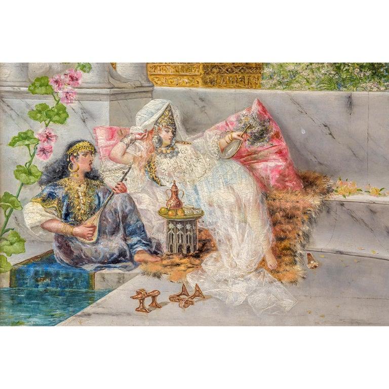 Islamic Original 19th Century Orientalist Painting on Panel by Spanish Artist A Rivas For Sale