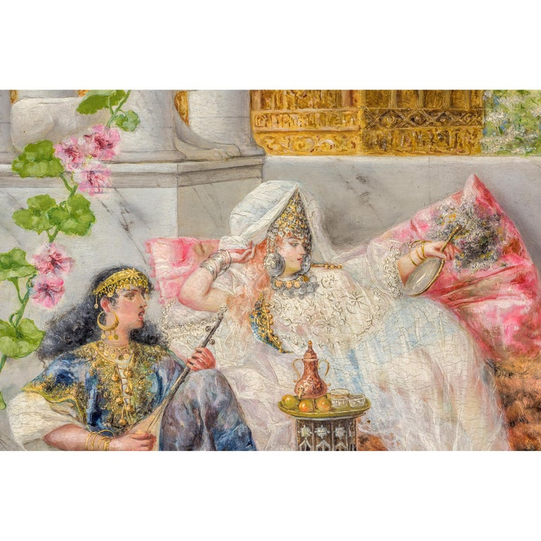 Painted Original 19th Century Orientalist Painting on Panel by Spanish Artist A Rivas For Sale