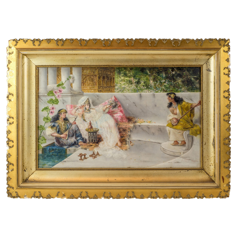 Original 19th Century Orientalist Painting on Panel by Spanish Artist A Rivas