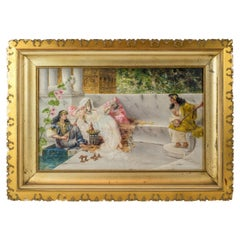 Original 19th Century Orientalist Painting on Panel by Spanish Artist A Rivas