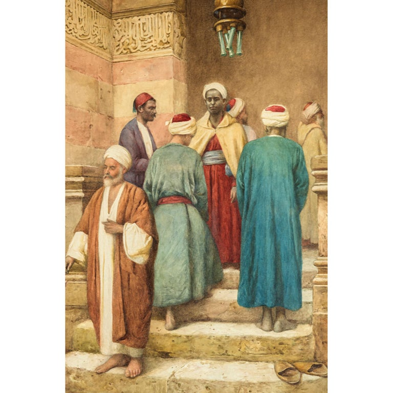 Original 19th century orientalist watercolor painting by Enrico Tarenghi. Signed 'E. Tarenghi' bottom right  Title: Entrance To The Mosque Artist: Enrico Tarenghi (Italian, 1848-1938) Date: 19th century Medium: Watercolor on paper Dimension: