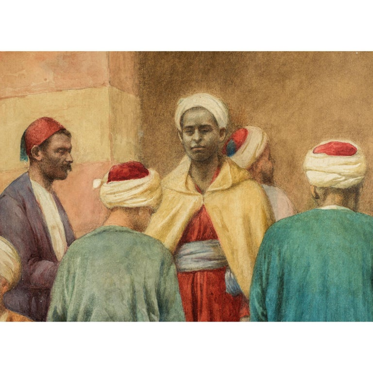 Islamic Original 19th Century Orientalist Watercolor Painting by Enrico Tarenghi For Sale