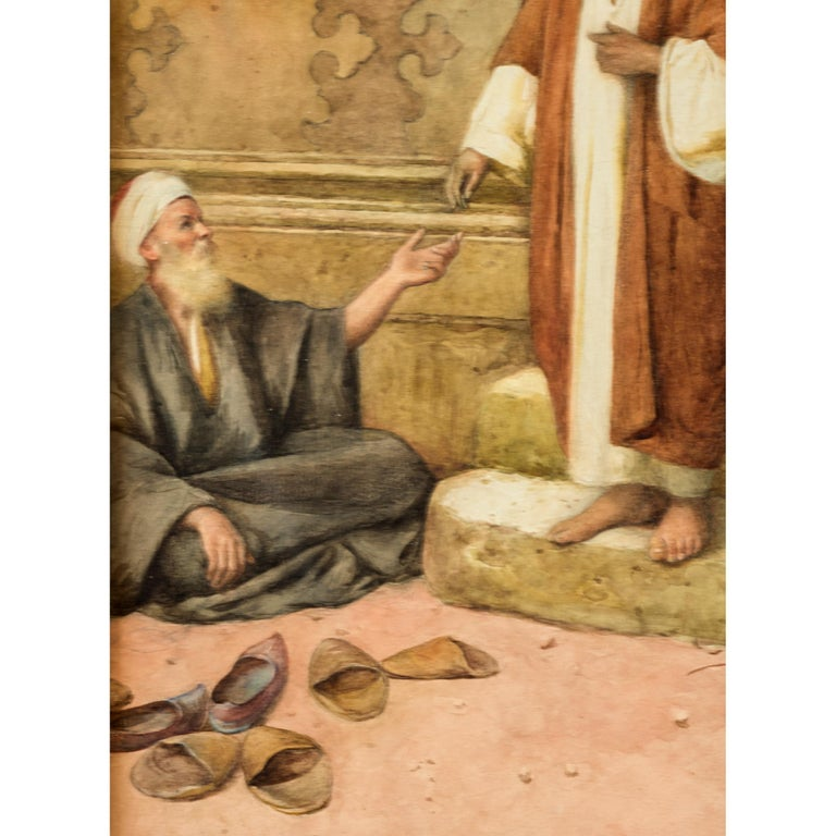 Painted Original 19th Century Orientalist Watercolor Painting by Enrico Tarenghi For Sale