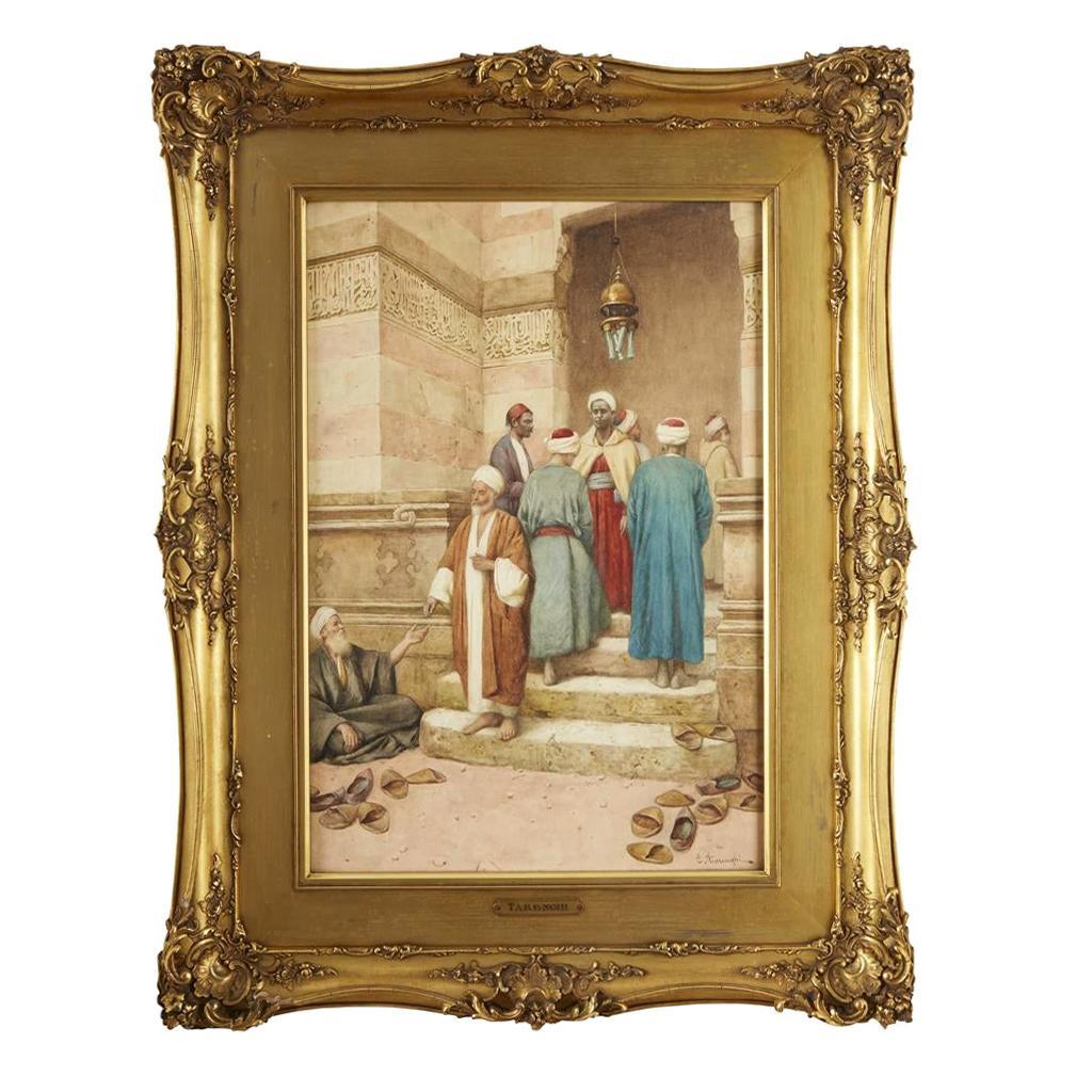 Original 19th Century Orientalist Watercolor Painting by Enrico Tarenghi