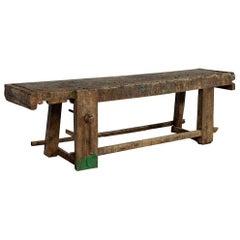 Original 19th Century Rustic Craftsmen Work Table Bench