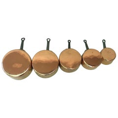 Original 19th Century Set of Five French Copper Pans