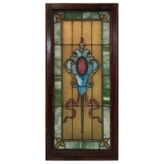 Original 19th Century Stained Glass Panel with Wood Frame