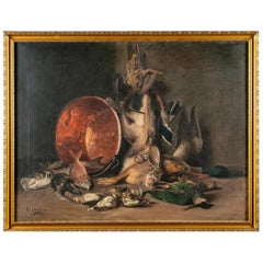 Original 19th Century Still Life of Game Oil Painting by Antoine Gadan, Signed