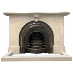 Original 19th Century Victorian Arched Marble Fireplace Surround and Insert