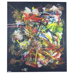 Original 20th Century Abstract Painting in the Manner of Jackson Pollock