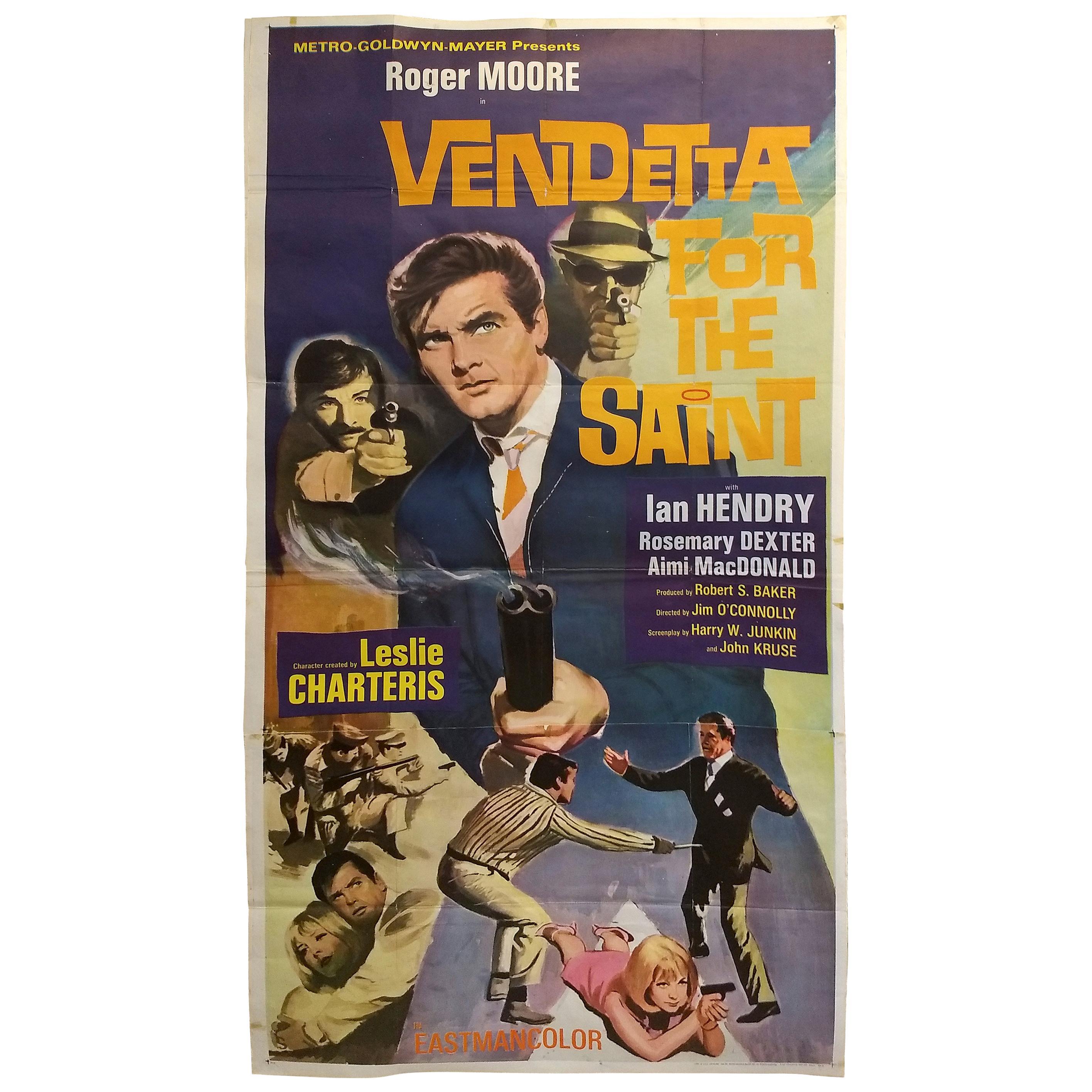 "Original 3 Sheet ""Vendetta for the Saint"" Movie Poster"