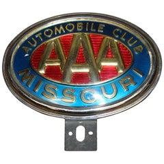 Original AAA Automobile Club Missouri Vintage License Plate Topper Original AA
