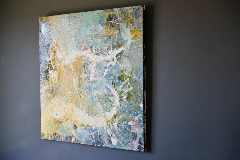 Original abstract acrylic on canvas by California artist, Brandon Charles Weber. Large scale, measures 48
