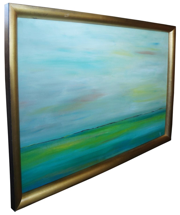 Original abstract impressionist seascape oil painting modern frame signed LE 65