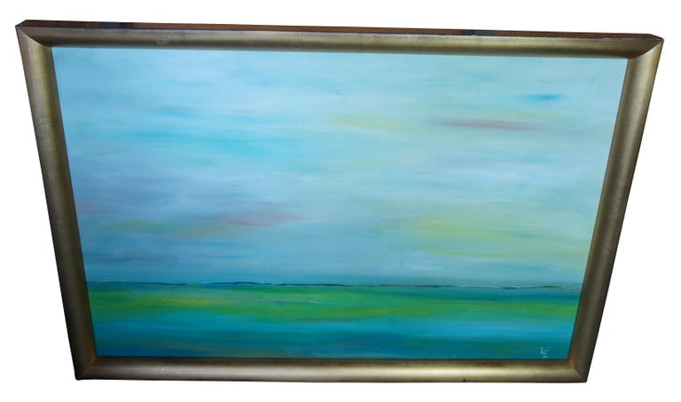 Expressionist Original Abstract Impressionist Seascape Oil Painting Modern Frame Signed LE For Sale
