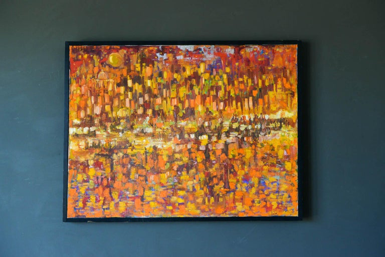 Original abstract oil on canvas, ca. 1965. Beautiful orange warm tones add color and depth to this piece. Original oil on canvas by unknown artist from a prominent Laguna Beach, CA estate. Good original condition with original wood frame.