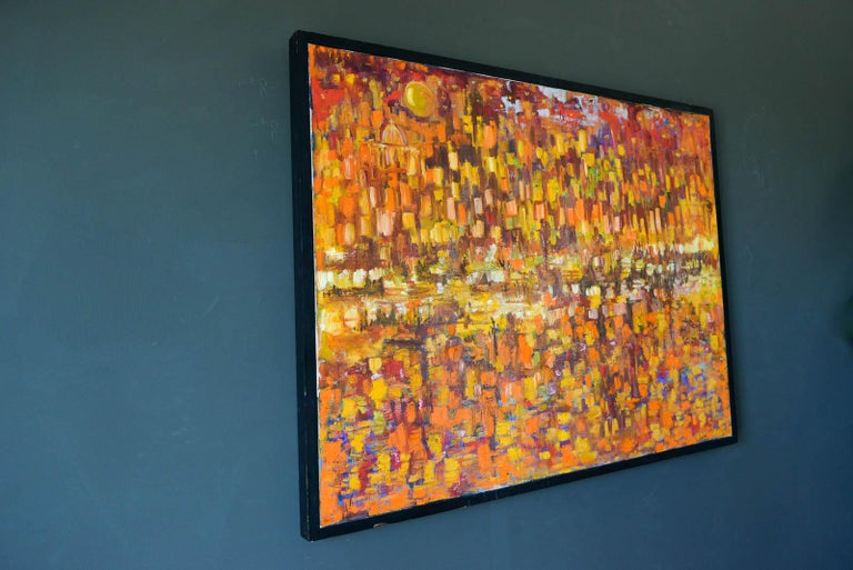 Mid-Century Modern Original Abstract Oil on Canvas, ca. 1965 For Sale