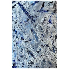 "Original Abstract Painting ""Bleu Mood"" by Multi-Sensorial Artist Chanel Verdult"