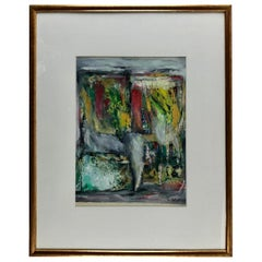 Original Abstract Painting by C. Azuelos in the Manner of Barbara Kreitman