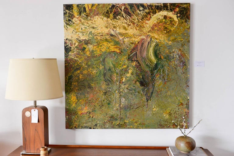 Large original abstract painting on canvas by Brandon Charles Weber. Signed by the artist on reverse, this beautiful piece is an original work and works well with mid century modern, modern and contemporary decor. Unframed and signed. Measures: 48
