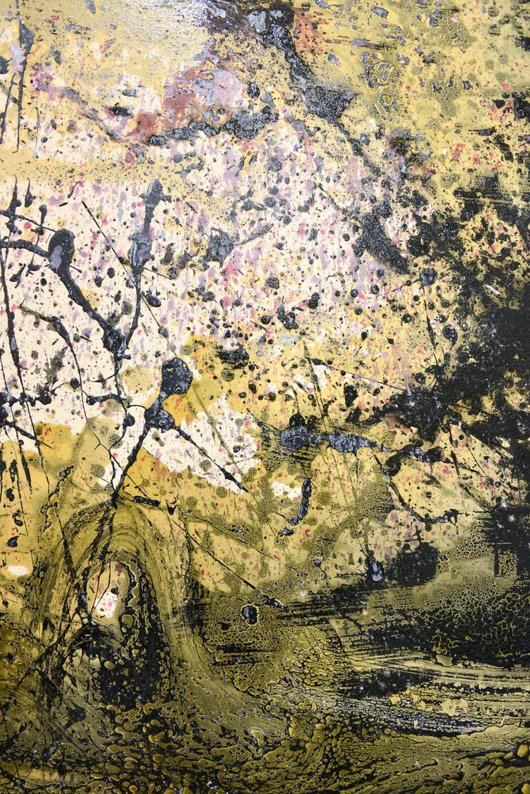 Large original abstract painting on canvas by Brandon Charles Weber. Signed by the artist on reverse, this beautiful piece is an original work and works well with Mid-Century Modern, modern and contemporary decor. Unframed and signed. Measures: 48