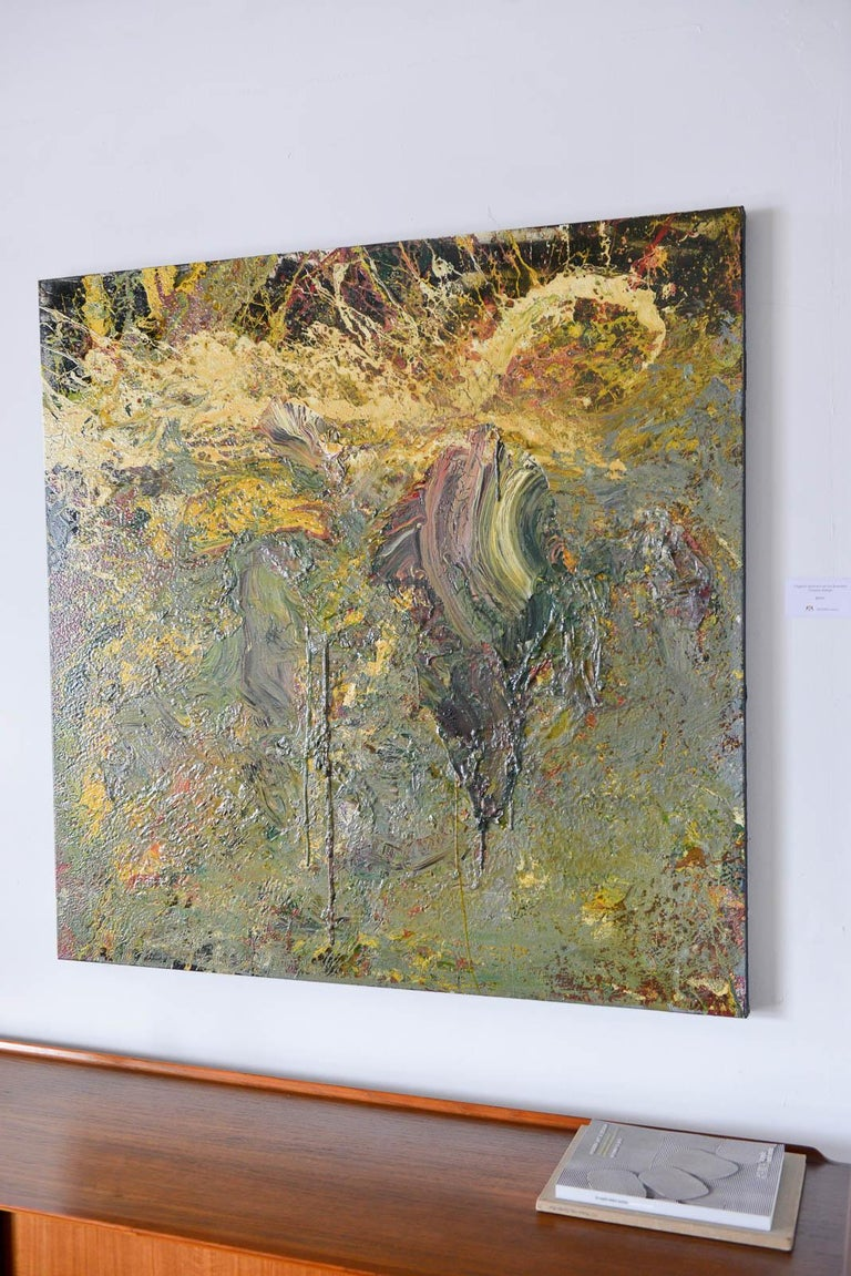 Mid-Century Modern Original Abstract Painting on Canvas by Brandon Charles Weber For Sale