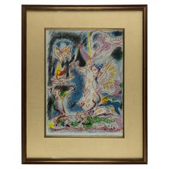 Original Abstract Paper Painting in the Manner of Jean Cocteau