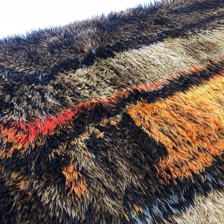 Original Abstract Scandinavian High Pile Abstract Rya Rug Carpet, Denmark, 1960s 3