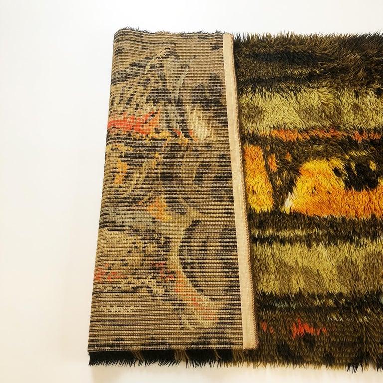 Original Abstract Scandinavian High Pile Abstract Rya Rug Carpet, Denmark, 1960s 4