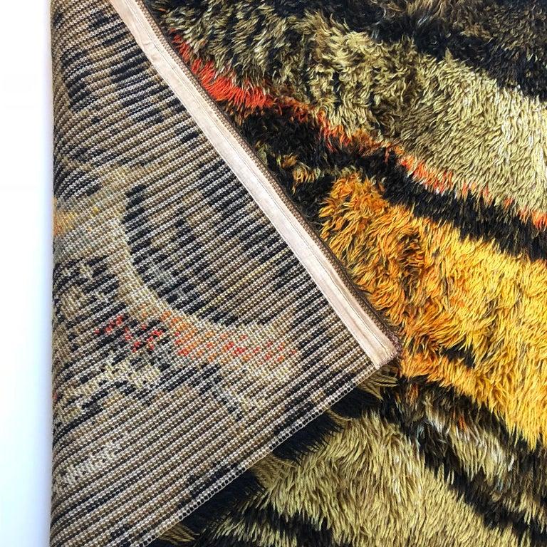 Original Abstract Scandinavian High Pile Abstract Rya Rug Carpet, Denmark, 1960s 5