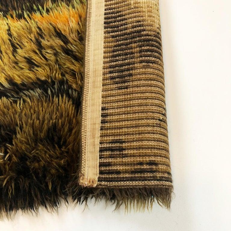 Original Abstract Scandinavian High Pile Abstract Rya Rug Carpet, Denmark, 1960s 6