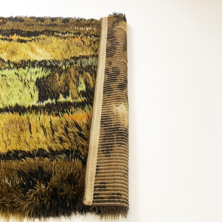 Original Abstract Scandinavian High Pile Abstract Rya Rug Carpet, Denmark, 1960s 7