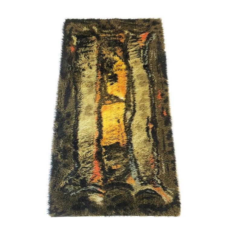 Original Abstract Scandinavian High Pile Abstract Rya Rug Carpet, Denmark, 1960s 8