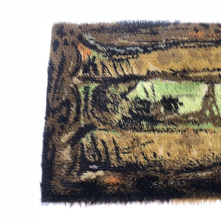 Mid-Century Modern Original Abstract Scandinavian High Pile Abstract Rya Rug Carpet, Denmark, 1960s