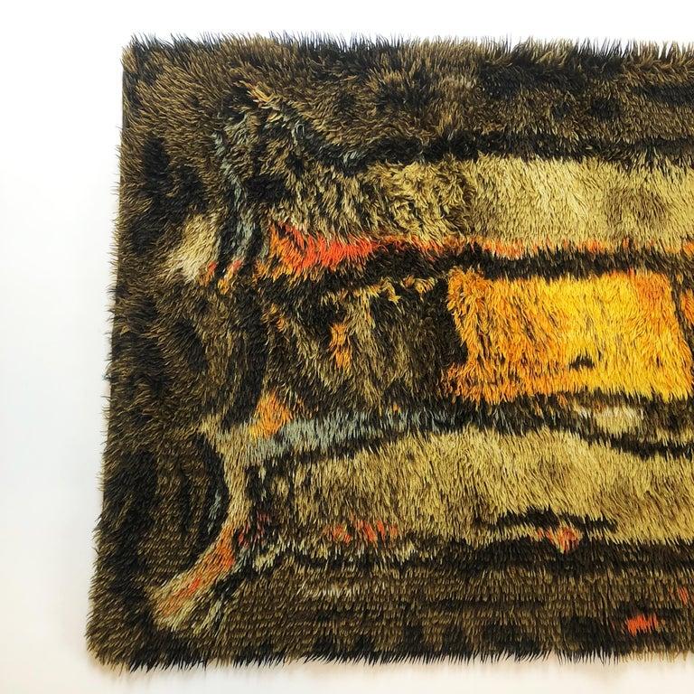 Danish Original Abstract Scandinavian High Pile Abstract Rya Rug Carpet, Denmark, 1960s