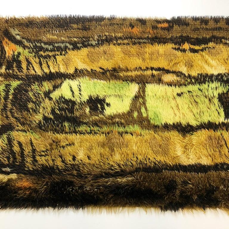 Finnish Original Abstract Scandinavian High Pile Abstract Rya Rug Carpet, Denmark, 1960s