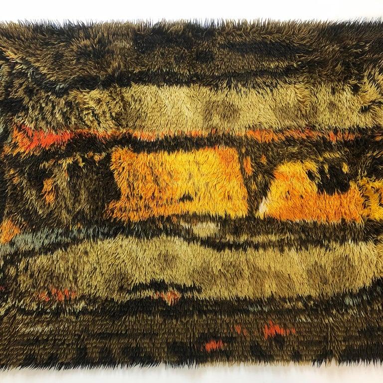 Original Abstract Scandinavian High Pile Abstract Rya Rug Carpet, Denmark, 1960s In Good Condition In Kirchlengern, DE