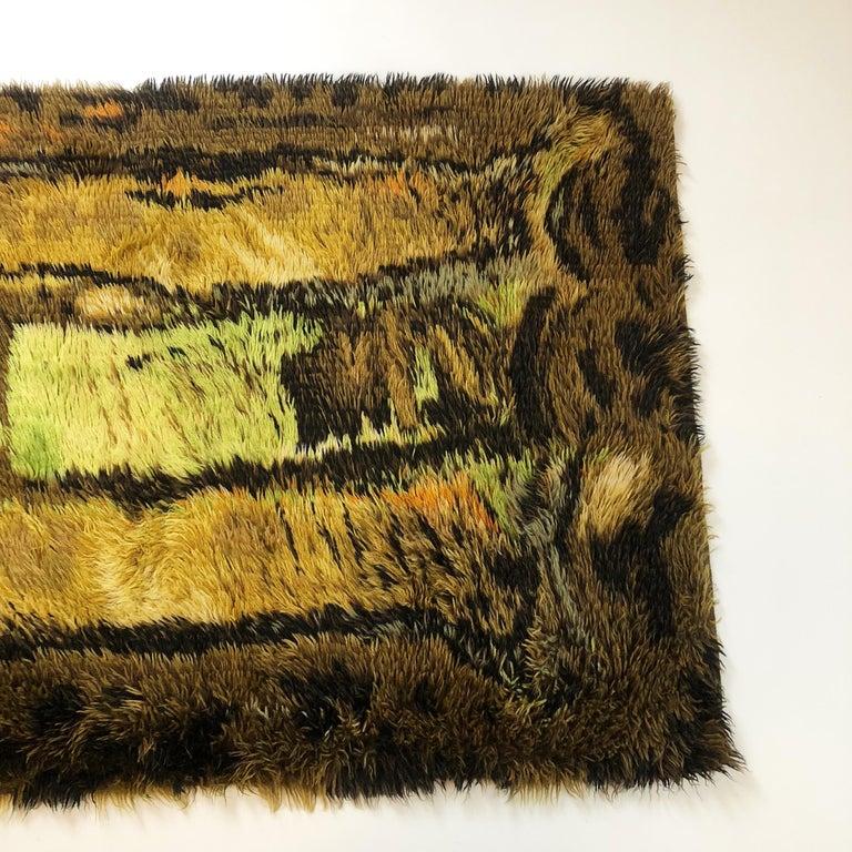 20th Century Original Abstract Scandinavian High Pile Abstract Rya Rug Carpet, Denmark, 1960s