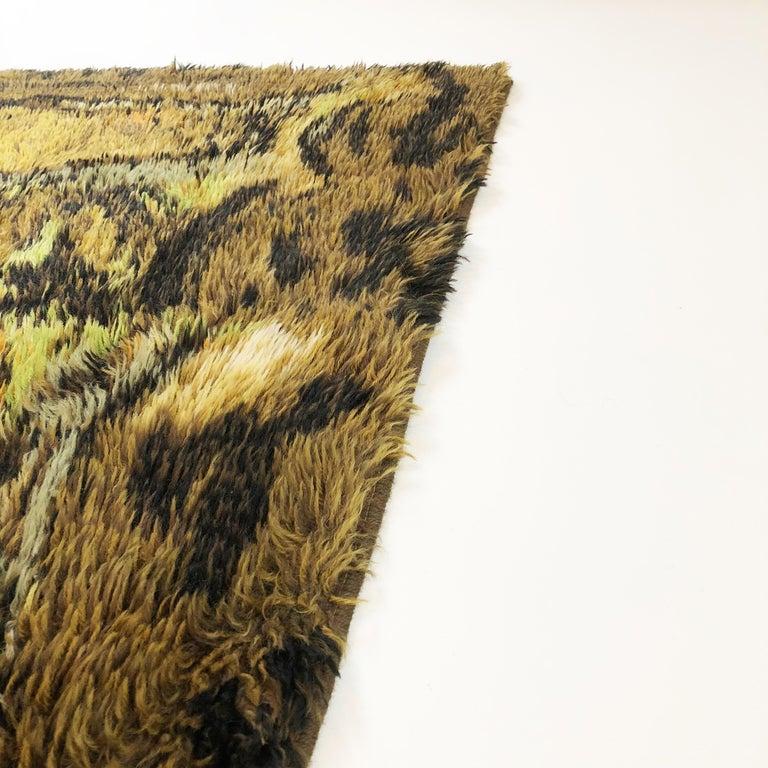 Cotton Original Abstract Scandinavian High Pile Abstract Rya Rug Carpet, Denmark, 1960s
