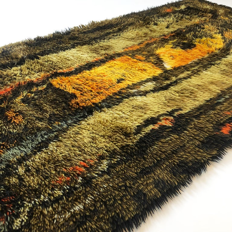 Original Abstract Scandinavian High Pile Abstract Rya Rug Carpet, Denmark, 1960s 1