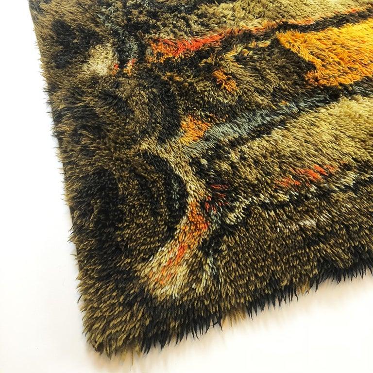 Original Abstract Scandinavian High Pile Abstract Rya Rug Carpet, Denmark, 1960s 2
