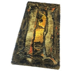 Original Abstract Scandinavian High Pile Abstract Rya Rug Carpet, Denmark, 1960s