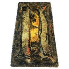 Original Abstract Scandinavian High Pile Abstract Rya Rug Carpet, Denmark, 1960s