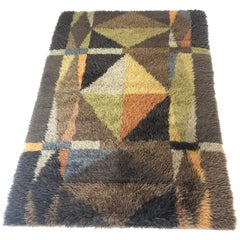 Original Abstract Scandinavian High Pile Abstract Rya Rug Carpet, Sweden, 1960s