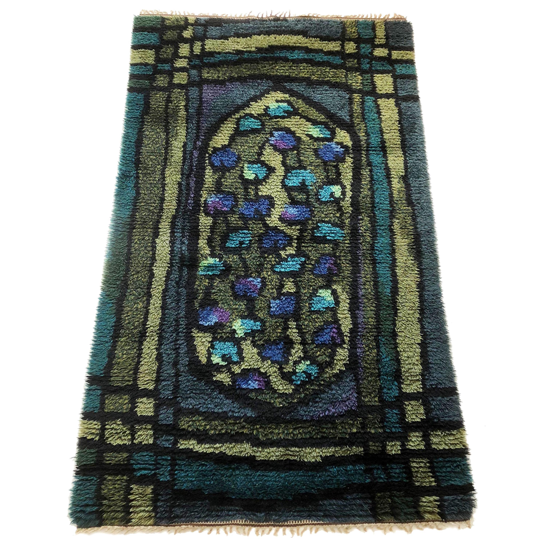 Original Abstract Scandinavian High Pile Abstract Rya Rug Carpet, Sweden, 1960s