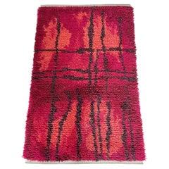 Original Abstract Scandinavian High Pile Örgryte Rya Rug Carpet, Sweden, 1960s
